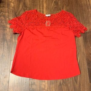 Guess Tops - NWT GUESS red lace detail shirt